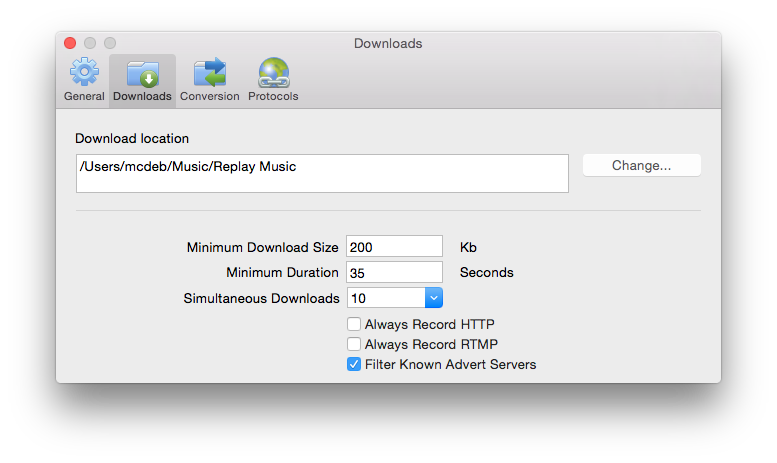 Downloads Preferences