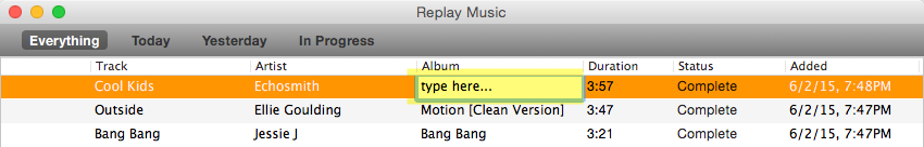 tagging in Replay Music for Mac