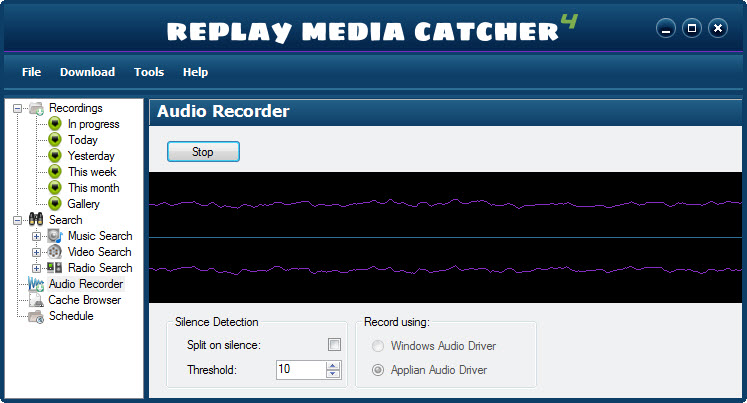 Replay Media Catcher User Guide Click Start to begin recording. As you record, you'll see activity as sound  is detected by Replay Media Catcher: