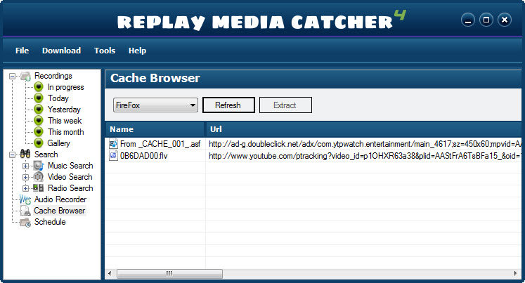 Replay Media Catcher User Guide Click Cache Browser from the left-hand side of your Replay Media Catcher  window. The Cache Browser appears: