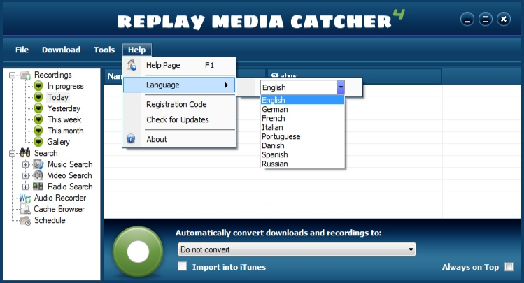 Replay Media Catcher User Guide Language-selection