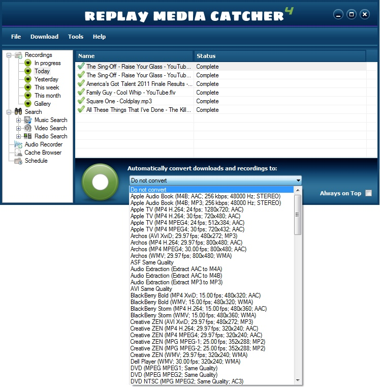 Replay Media Catcher User Guide convert-pulldown
