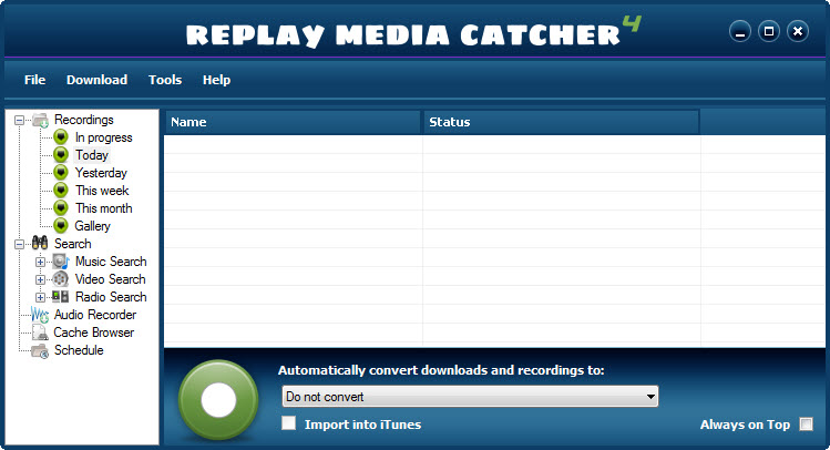 Screenshot: Porkolt stream snagging software (Replay Media Catcher 4): main screen
