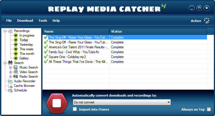 Screenshot: Music Me stream snagging software (Replay Media Catcher 4): Recorded files list