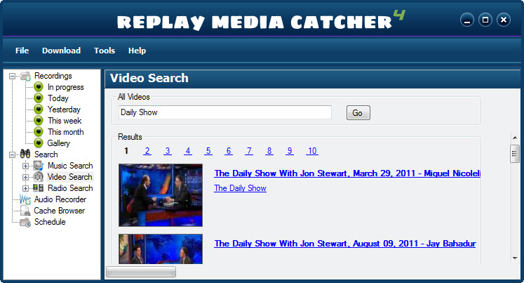 Replay Media Catcher User Guide Here's an example of Video Search: