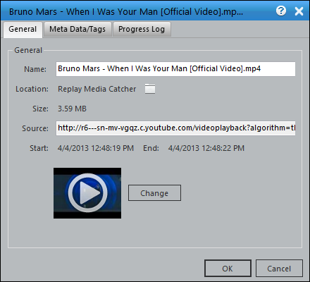 Replay Media Catcher 5 User Guide General Tab: Displays information such as Name, Location, Size, Source and  Image. You can change the name and image. To view the file in Windows  Explorer ...