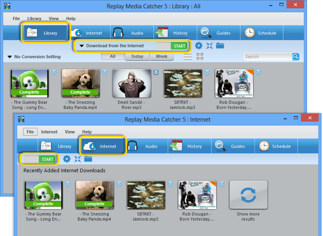 Screenshot: Replay Media Catcher: Recordings from Scafy and other web-sites