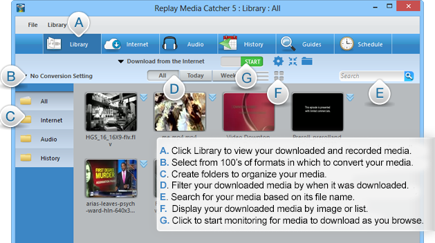 Screenshot: YourFileHost stream catching software (Replay Media Catcher 5): main screen