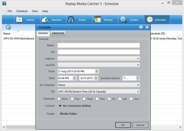 Replay Media Catcher 5 User Guide Replay Media Catcher does not need to be running when a download or  recording is scheduled. It will automatically start.