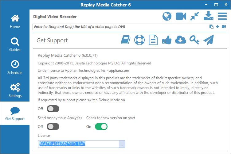 Replay Media Catcher 7 User Guide Get Support Tab
