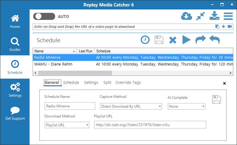 Replay Media Catcher 6 User Guide : Applian Technologies Support Desk schedule view
