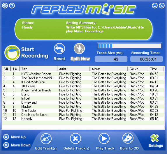 Screenshot: Replay Music recording tunes from Iceberg Radio