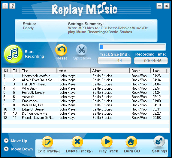 Click to view Replay Music 5.05 screenshot