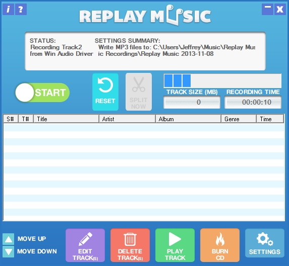 Screenshot: Replay Music 6 saving tracks from MySpace Music