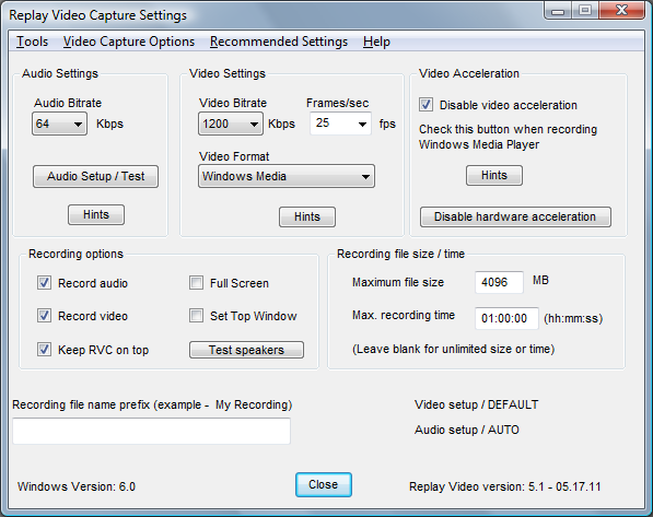 Video capture Settings