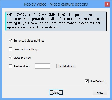 Replay Video Capture Options
